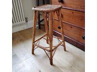 vintage bamboo stool. kitchen stool. bohemian stool. 1970's stool. bar stool. retro stool.