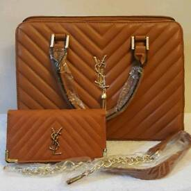 ladies tan bag with purse