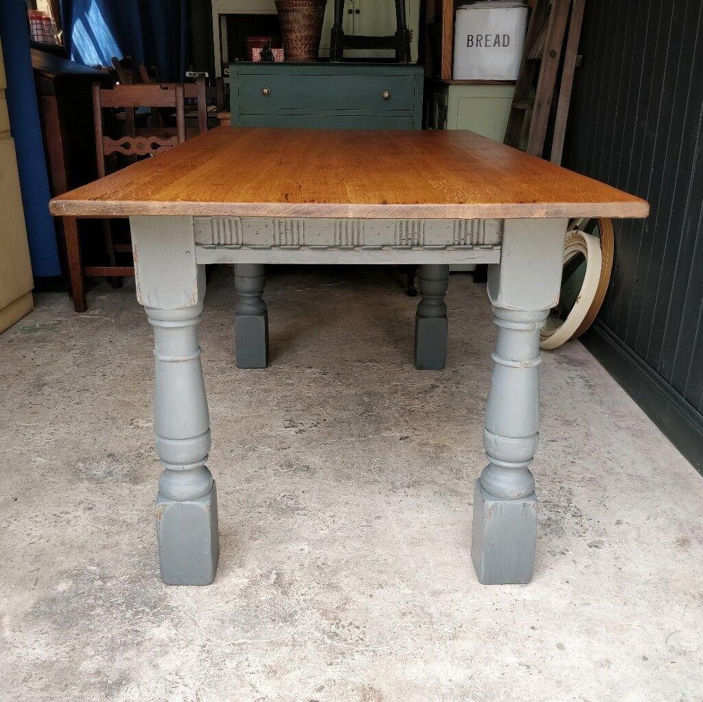 Oak Dining Table Antique Large Vintage Kitchen