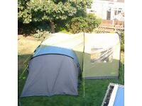 Gelert evora porch and Quechua T4.2 dome tent. Available separately.
