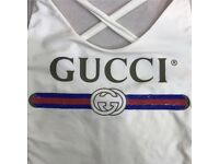 Women Gucci Logo White Swimsuit