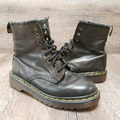 Dr. Martens Boys Distressed Combat Boot 8-Eye Black Leather Lace Up Kids Size 3