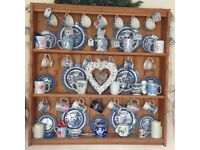 Pine plate rack/shelves with cup hooks.