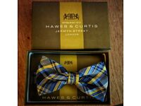 Elegant silken blue and yellow tartan bowtie by Hawes&Curtis