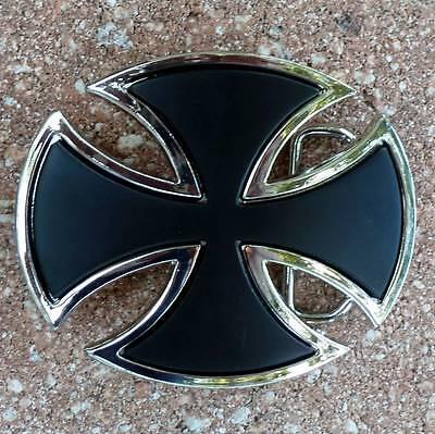 german Iron Cross belt buckle biker motorcycle jeans shield knight templar goth Cross Shield Belt Buckle