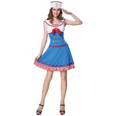 NEW WOMENS TOTALLY GHOUL SAILOR DRESS UP HALLOWEEN COSTUME SIZE SMALL/MEDIUM (Womans Sailor Costume)