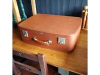 vintage antler suitcase, vintage case with key, retro luggage, vintage travel, vintage tan case,