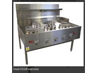 5 ring industrial wok cooker, been professionally cleaned and in mint condition