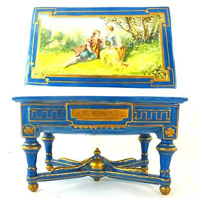 SEVRES STYLE PORCELAIN CASKET & COVER HAND PAINTED CONSOLE TABLE FORM