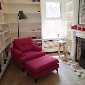 John Lewis Pink Arm Chair and Foot Stool for Sale! Immaculate Condition!