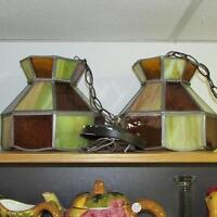 PAIR ANTIQUE LEADED STAINED GLASS CEILING FIXTURES HALL KITCHEN