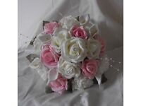 Brides Hand Tied Bouquet, Bridesmai Posyd and flowergirl Wand Pink/White