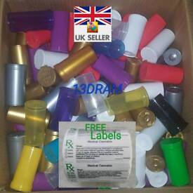 BOX 13dram Smellproof Pop Top medical Containers 1-2g FREE LABELS