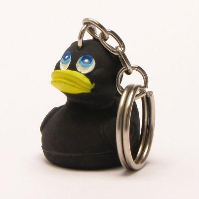 Badeente Black Duck Schlüsselanhänger Quietscheentchen Quietschenten Gummiente