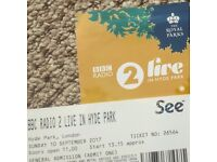 2 Tickets BBC Radio 2 Festival in a Day Hyde Park 10.09.17 Shania Twain, Take That & more!