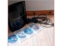 Black Sony Play Station With Games
