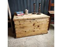 pine trunk, vintage wooden trunk, toy box, vintage storage, playroom box, large trunk, vintage decor
