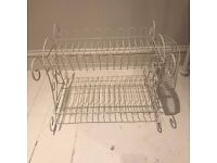 Cream Dish Rack with cutlery pocket Good condition 5 months old