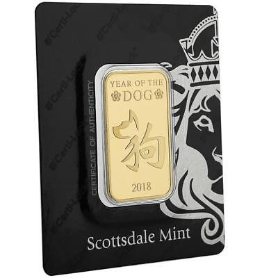 2018 1oz .9999 Gold Bar Year of the Dog in Certi-LOCK COA #A440