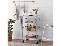 3-Tier Metal Basket Rolling Cart with Wood Top