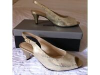 Van Dal - Ladies gold snakeprint shoes, size uk 6