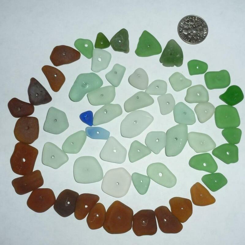 Genuine Real Beach Surf Tumbled Sea Glass 57 PCS Middle Drilled Seaglass Small