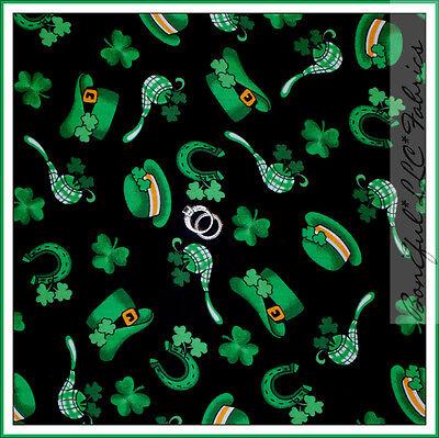 BonEful Fabric FQ Cotton Quilt Black Green Leaf Shamrock St Patricks Day Clover](Leprachaun Hat)