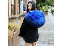 DAYMISFURRY--Fox Fur Lined Parka with Raccoon Fur Hood In Royal Blue