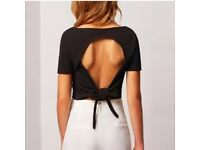 Black short sleeve tops with backless look
