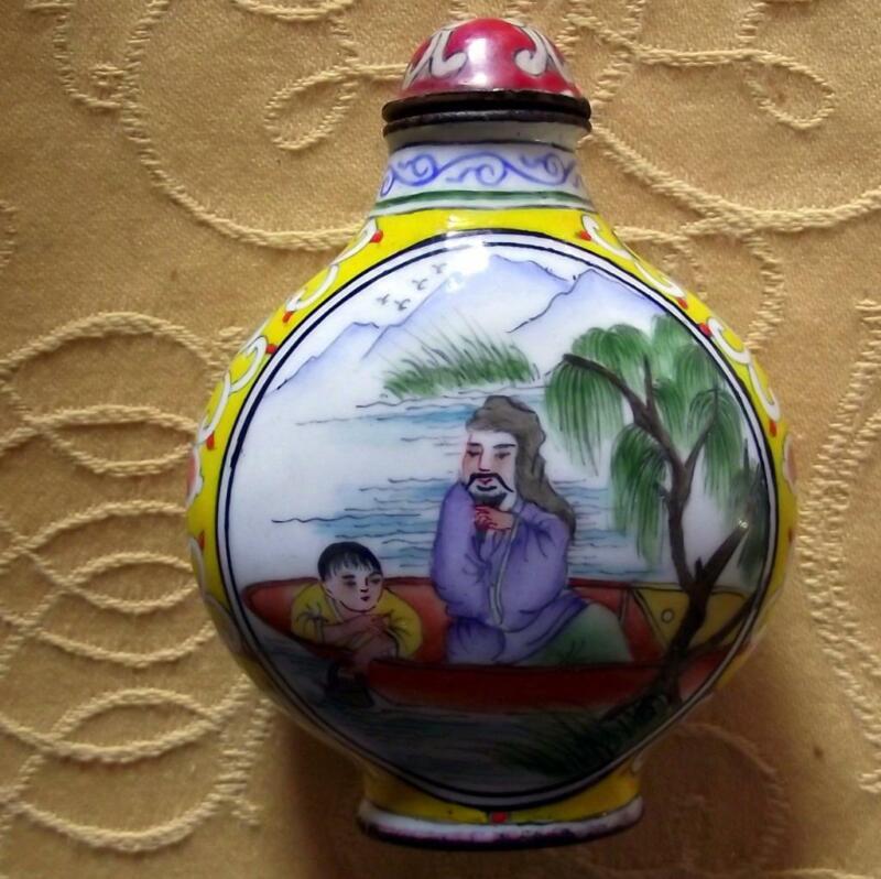 Vintage Qianlong Signed Chinese Oriental Snuff Perfume Bottle Enamel on Copper L