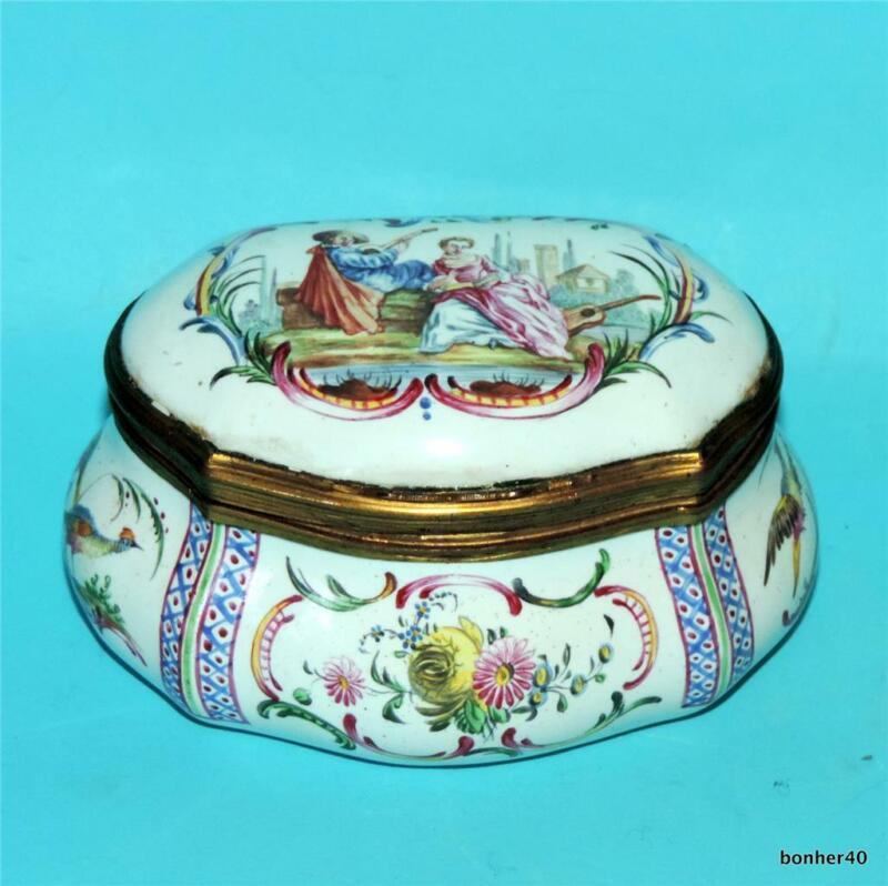 FABULOUS ANTIQUE FRENCH EARLY 19THC PORCELAIN SNUFF BOX ROMANTIC SENERY