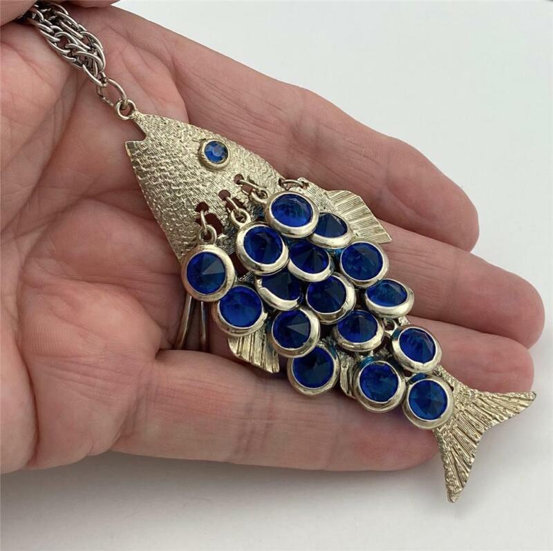 "Vintage Silver T. Fish Pendant Necklace with Bezel Set Blue Crystal Dangles 24""L"