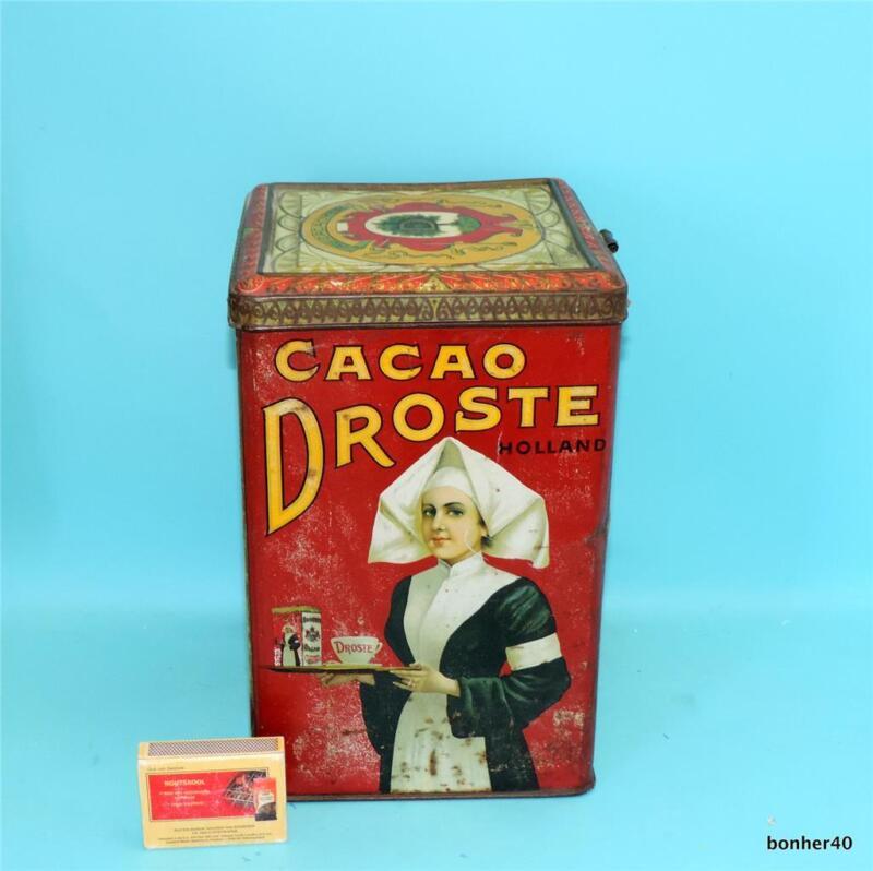 RARE LARGE TIN BOX DUTCH HOLLAND DROSTE CACOA ADVERTISING 5 KILO