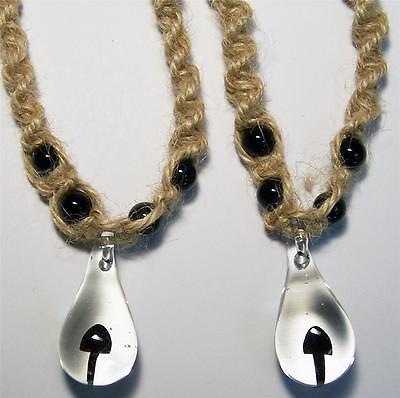 BLACK GLASS MUSHROOM HEMP NECKLACE W COLORED BEADS mens womens shrooms #JL455 Dyed Black Hemp