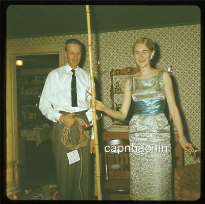 Funny Woman Gets Bamboo Stripper Pole From Hubby For Christmas 1960 Slide Photo