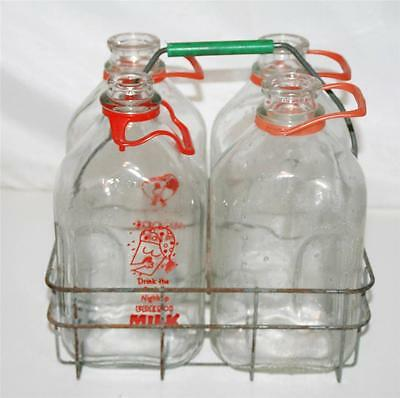 4 Vtg HALF GALLON DAIRY MILK BOTTLE Carrier wire metal holder milk 1/2 glass old