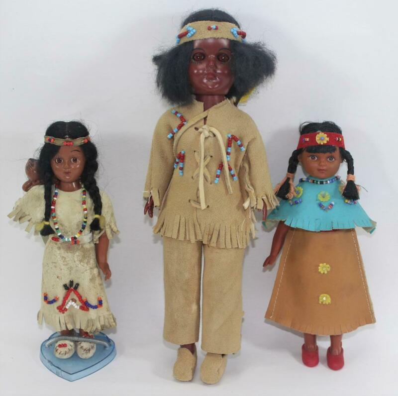Vintage Lot of 3 Native American Indian Dolls and Papoose Sleepy Eyes