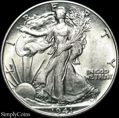1941 Walking Liberty Silver Half Dollar ~ AU About Uncirculated ~ US Coin