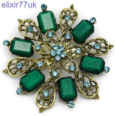 "2.5"" LARGE GOLD FLOWER VINTAGE GREEN BROOCH TURQUOISE RHINESTONE CRYSTALS BROACH"