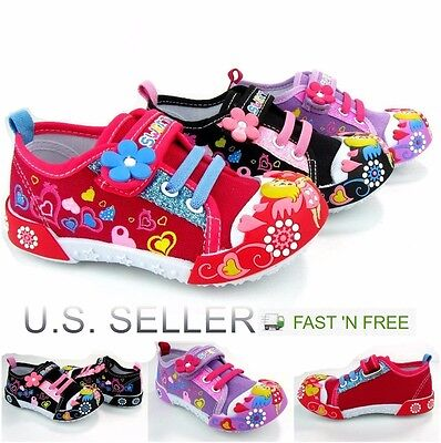 Girls Canvas Shoes - Girls Infant Toddler Little Kid Baby Flower Canvas Soft Sole Design Strap