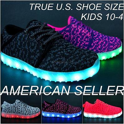 Kids Light Up Shoes Unisex  LED Sneakers Luminous USB Charger Lace Athletic