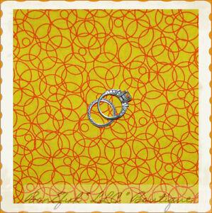 BonEful-Fabric-FQ-Cotton-VTG-Bright-Yellow-Red-Dot-Circle-Ring-Circus-Quilt-RARE
