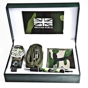 Army Watch Gift Set Box Men Boys  With Wallet Belt Pen British Military Sports