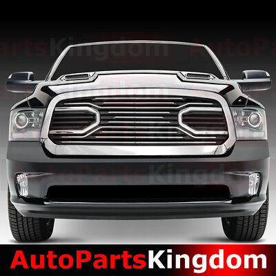 13-17 Dodge RAM 1500 Big Horn Chrome Packaged Grille+Shell Replacement Gril