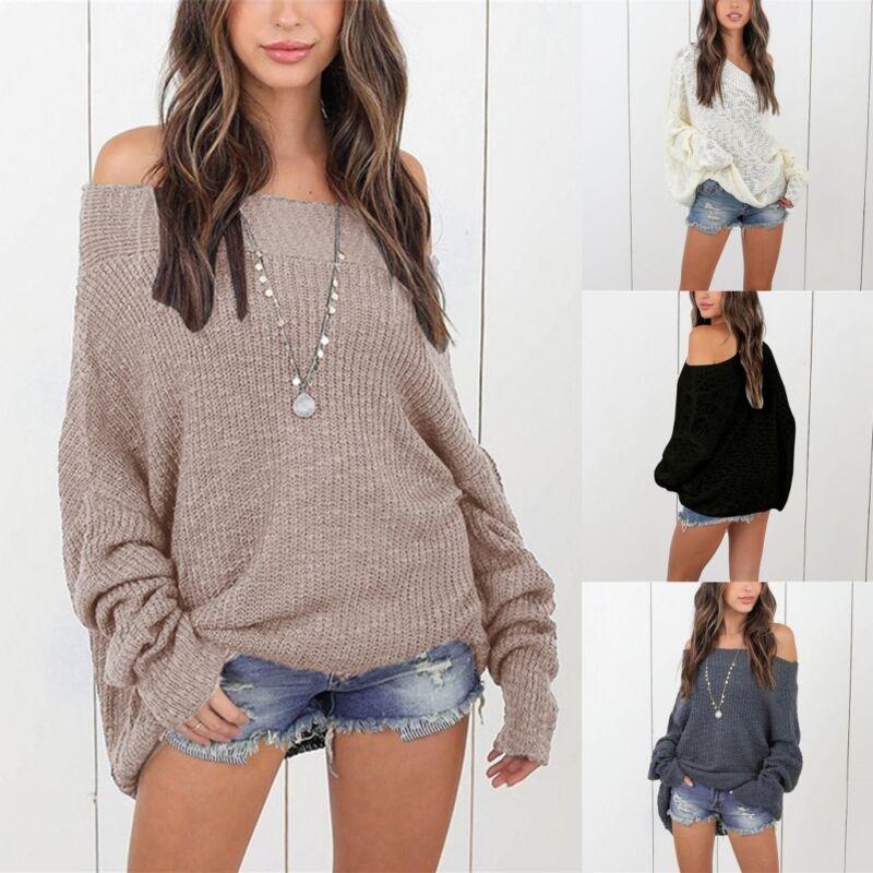 Oversized Womens Off Shoulder Knitted Sweatshirt Baggy Sweat