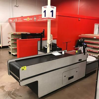 Reynolds Data 3000 Series Checklane Checkout Counters With Carousel Bagging Area