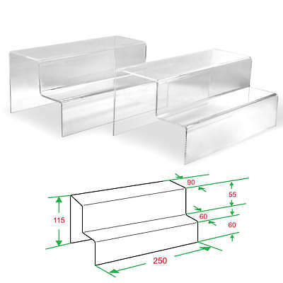 2x Clear Acrylic 2-tier Steps Display Riser Stand Jewelry Gift Showcase 4-12 H