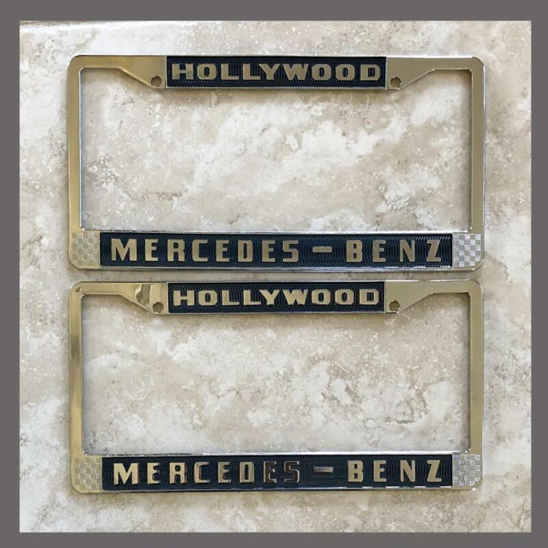 Mercedes-Benz Dealer Hollywood, CA License Plate Frames Pair Blue Chrome
