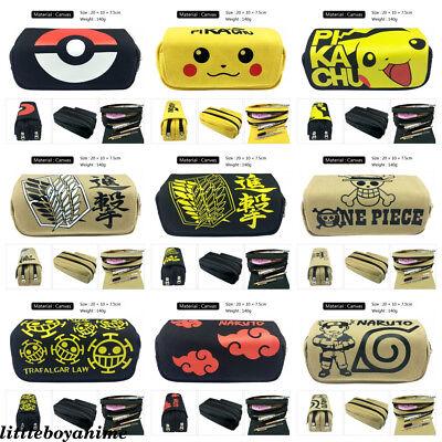 Pikachu Attack on Titan Naruto One Piece zip Pencil Case MakeUp bag Cosmetic - Pikachu Makeup