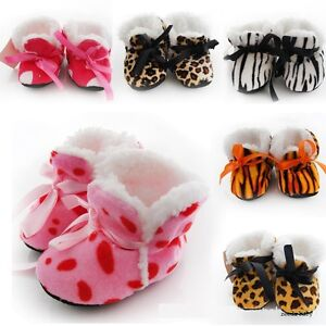 NEW-Baby-Girl-Boy-Newborn-Animal-Print-Booties-Shoes-Leopard-Zebra-0-6-months